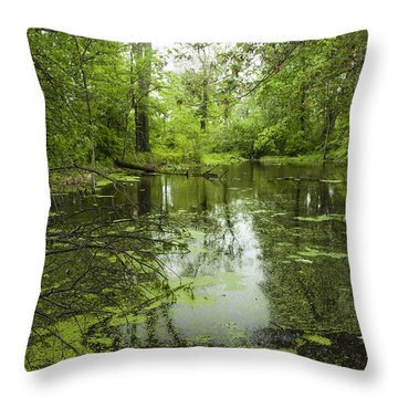 Green Blossoms On Pond Throw Pillow by Jerry Cowart