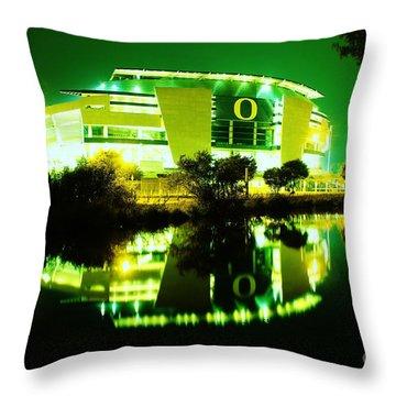 Green Power- Autzen At Night Throw Pillow
