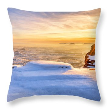 Green River Snow Throw Pillow by Chad Dutson