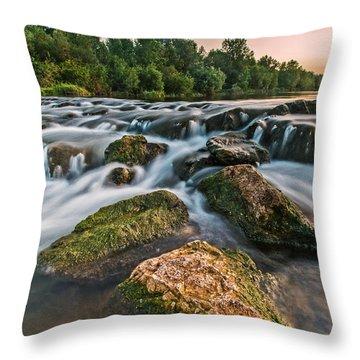 Green Rocks Throw Pillow by Davorin Mance
