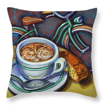 Throw Pillow featuring the painting Green Schwinn Bicycle With Cappuccino And Biscotti. by Mark Howard Jones