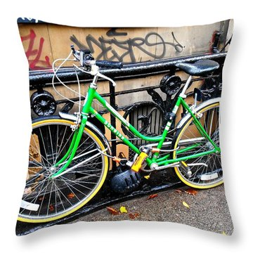Throw Pillow featuring the photograph Green Schwinn Bike  Nyc by Joan Reese