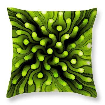 Green Sea Anemone Throw Pillow by Anastasiya Malakhova
