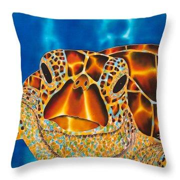 Green Sea Turtle Throw Pillow by Daniel Jean-Baptiste