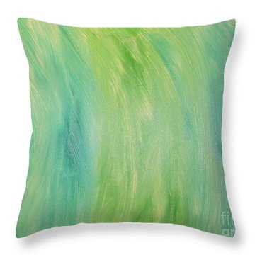 Throw Pillow featuring the painting Green Shades by Barbara Yearty