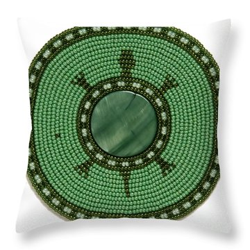 Green Shell Turtle Throw Pillow