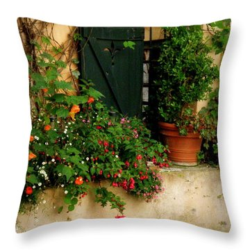 Green Shuttered Window Throw Pillow by Lainie Wrightson