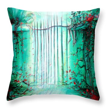 Green Skeleton Gate Throw Pillow by Heather Calderon