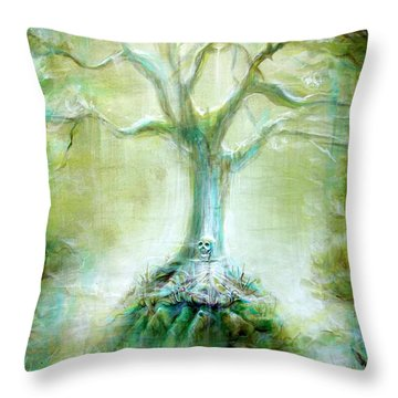 Green Skeleton Meditation Throw Pillow