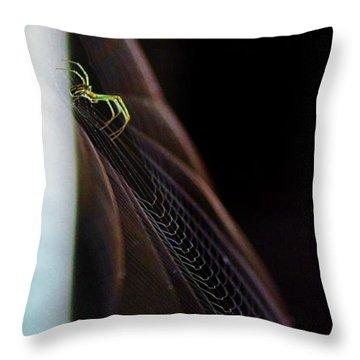 Green Spider Throw Pillow