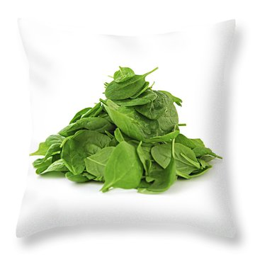 Green Spinach Throw Pillow by Elena Elisseeva