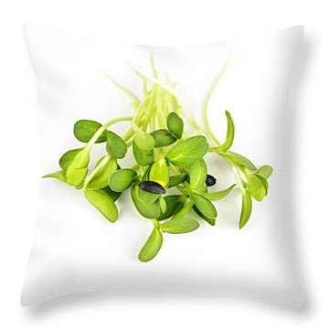 Green Sunflower Sprouts Throw Pillow