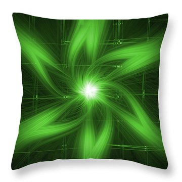 Throw Pillow featuring the digital art Green Swirl by Maggy Marsh