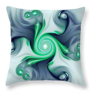 Green Swirls Throw Pillow by Anastasiya Malakhova
