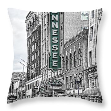 Green Tennessee Theatre Marquee Throw Pillow