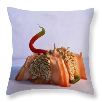 Green Tipped Pepper Snake Throw Pillow