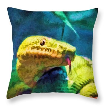 Green Tree Snake With Tongue Throw Pillow