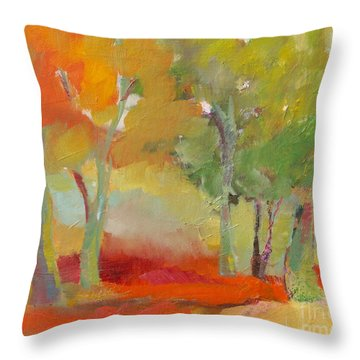 Throw Pillow featuring the painting Green Trees by Michelle Abrams