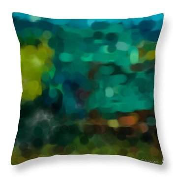 Green Truck In Abstract Throw Pillow