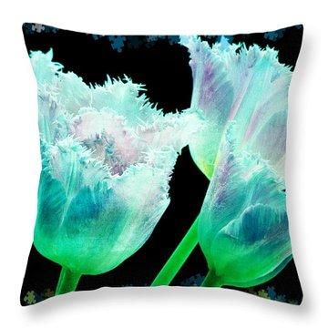 Green Tulip Glow Throw Pillow by Debra  Miller