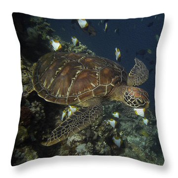 Hawksbill Turtle Throw Pillow by Sergey Lukashin