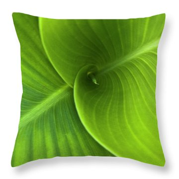Green Twin Leaves Throw Pillow by Heiko Koehrer-Wagner