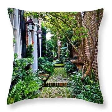 Throw Pillow featuring the photograph Green Walkway by Jean Haynes