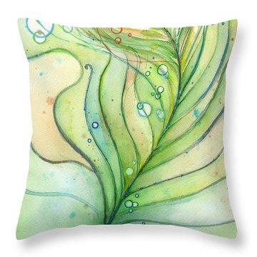 Green Watercolor Bubbles Throw Pillow