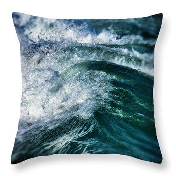 Green Wave Throw Pillow by John Pagliuca