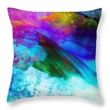 Throw Pillow featuring the painting Green Wave - Vibrant Artwork by Lilia D