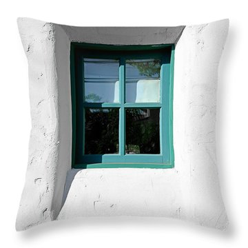 Green Window Throw Pillow