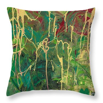 Green Yellow Abstract Throw Pillow