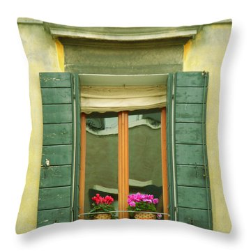 Green Yellow Venice Series Shutters Throw Pillow