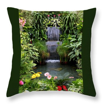 Greenhouse Garden Waterfall Throw Pillow by Carol Groenen