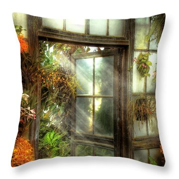 Greenhouse - The Door To Paradise Throw Pillow by Mike Savad