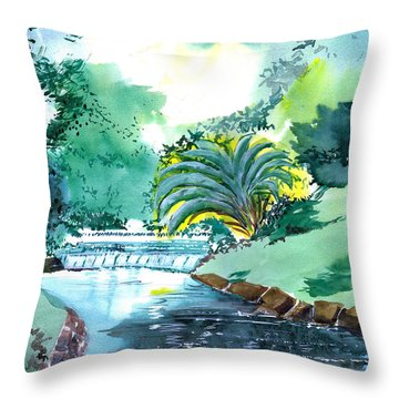 Greens 1 Throw Pillow by Anil Nene