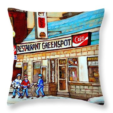 Greenspot Restaurant Notre Dame Street  South West Montreal Paintings Winter Hockey Scenes St. Henri Throw Pillow by Carole Spandau