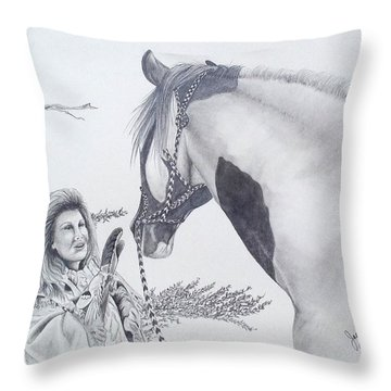 Greeting At The Monument Throw Pillow
