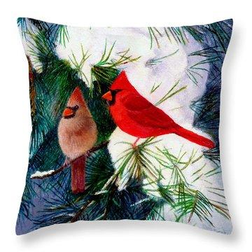 Greeting Cardinals Throw Pillow