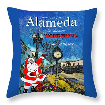 Alameda Christmas Greeting Throw Pillow by Linda Weinstock