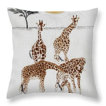 Throw Pillow featuring the painting Greeting The New Arrival by Stephanie Grant