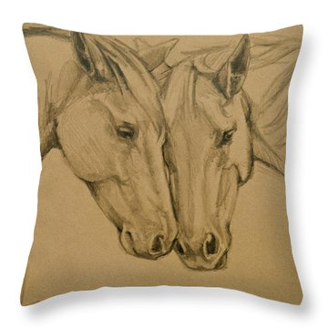 Throw Pillow featuring the drawing Greetings Friend by Jani Freimann