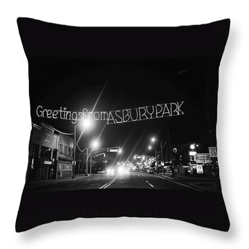 Greetings From Asbury Park New Jersey Black And White Throw Pillow by Terry DeLuco