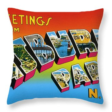 Greetings From Asbury Park Nj Throw Pillow