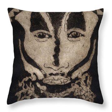 Greetings From New Guinea - Mask - Tribesmen - Tribesman - Tribal - Jefe - Chef De Tribu Throw Pillow