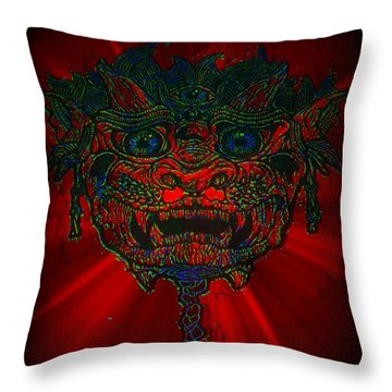 Gremlin In Dynamic Color Throw Pillow