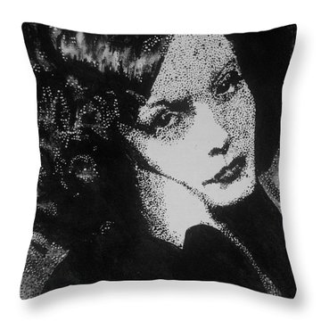 Throw Pillow featuring the painting Greta Garbo by Cherise Foster