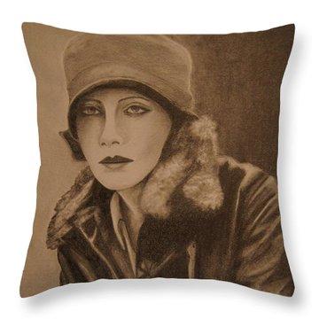 Greta Garbo Throw Pillow by Lorelle Gromus