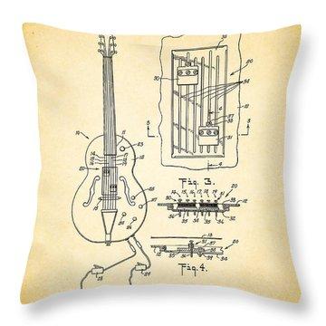 Gretch Guitar Patent 1960 Throw Pillow