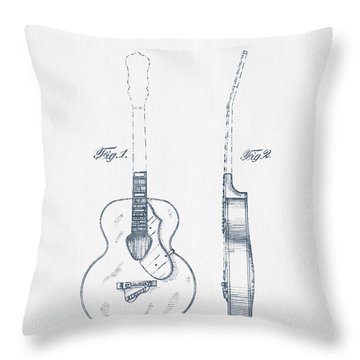 Gretsch Guitar Patent Drawing From 1941 - Blue Ink Throw Pillow by Aged Pixel